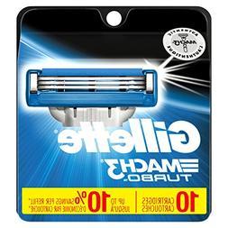 Gillette Mach3 Turbo Men's Razor Blade Refills, 10 Count, Me