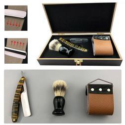 Man Manual Folding Shaver Kit Straight Shaving Razor Brush S