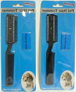 2 Pack Manual Pet Hair Trimmer with Extra Blades and Comb Gr