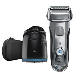 Men's Wet Dry Electric Shaver with Cleaning Base Synchronize