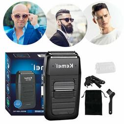 Kemei Rechargeable Men's Electric Dual Foil Shaver Beard Tri