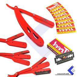 Red Steel Straight Edge Barber Hair Shaving Razor Folding Kn