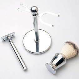 Lakkio Men's Safety Chrome Shaver, Shaving Brush, Razor Chro