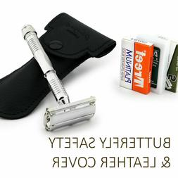 Safety Shaving Razor & Leather Cover Butterfly Shaver Free D