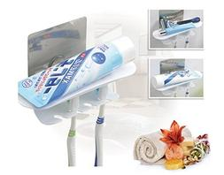 FOURCHEN Self Adhesive Toothpaste Toothbrush Holder Wall Mou