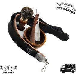 Shaver Kit Straight Razor Bristles Shaving Brush Leather Str