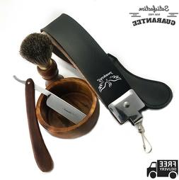 Shaver Kit Straight Razor Bristles Shaving Brush Leather Str