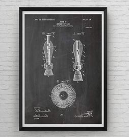 Shaving Brush Patent Print - Poster Shaving Gift Fathers Dad