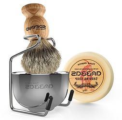 Shaving Brush Set, 4pcs Anbbas Pure Badger Hair Brush Solid