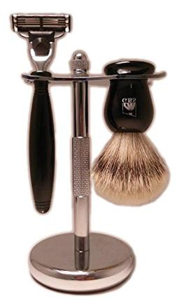 GBS Premium Shaving Gift Set - Black Handle 3 Blade Razor, P