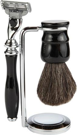 3 Piece Shaving Set With Mach 3 All Metal Heavyweight Handle