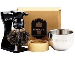 Shaving Set, 4in1 Anbbas Pure Black Badger Shaving Brush wit