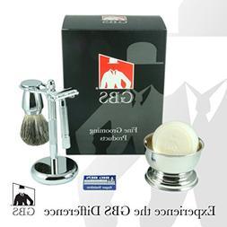 GBS Premium Men's Wet Shaving Kit - Butterfly DE Safety Razo