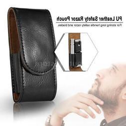 Straight Razor Pouch Shaver Case Travel Black PU Leather Bla