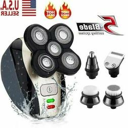 5 IN1 4D Rotary Electric Shaver Rechargeable Bald Head Beard