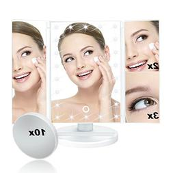 ELOKI Vanity Makeup Mirror Trifold 22 Led Lighted with Touch