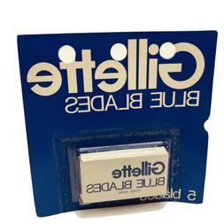 Vintage Gillette Blue Blades Safety Razor Shaver Pkg 5 NOS