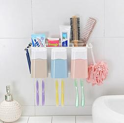 Crystallove Wall Mount Toothbrush Combination Holder with 3