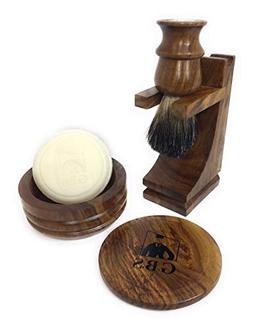 GBS Premium Men's Wood Shaving Set - Comes with Gift Box, Pu